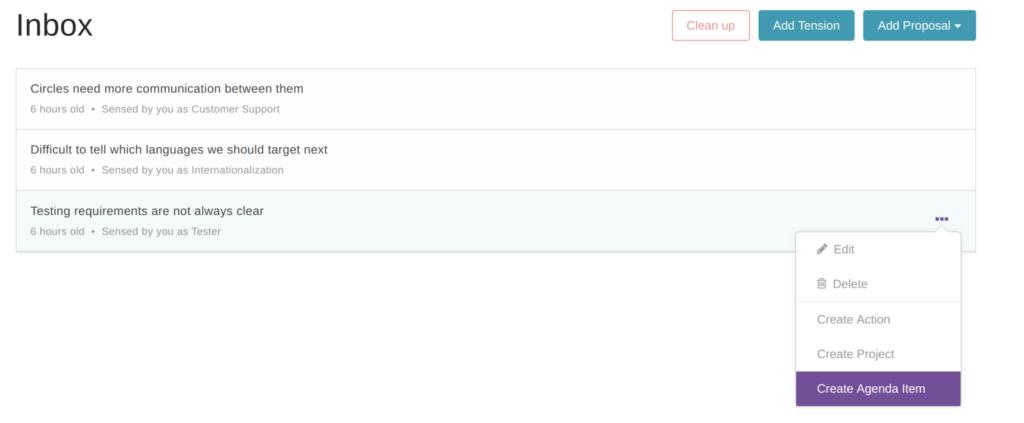 Glassfrog - inbox feature