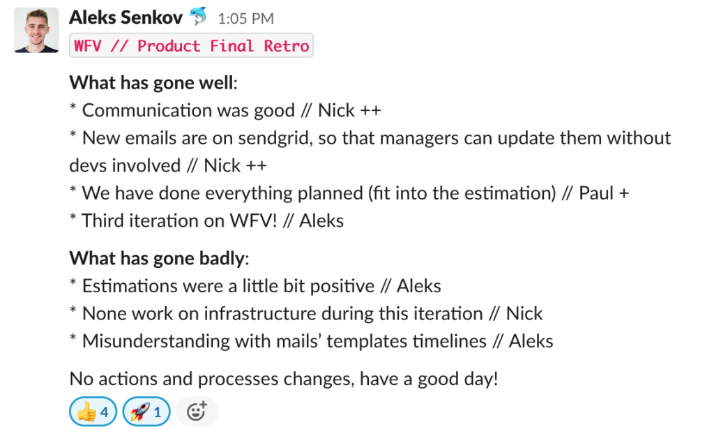An example of written update after retrospective meeting for the rest of remote team
